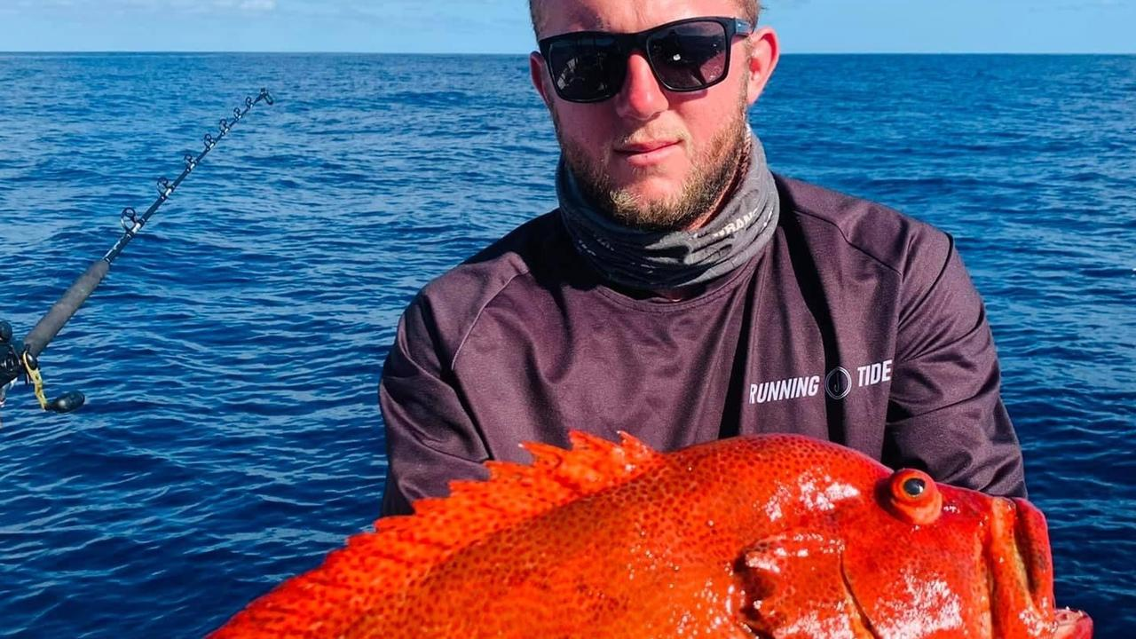 Cameron McFarlane with a Tomato Cod he caught out on the water recently.