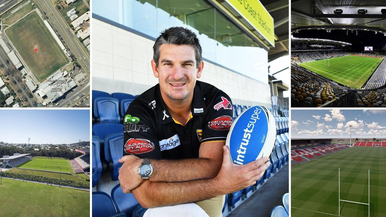 Sunshine Coast Falcons CEO Chris Flannery can't understand why the Coast hasn't received federal support while other projects including stadiums in Rockhampton, top left, Ballymore, bottom left, Townsville, top right and Redcliffe, bottom right, have all received backing.