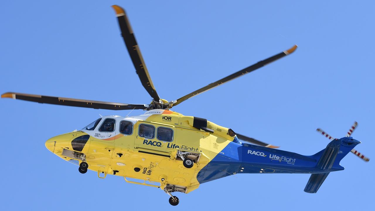 RACQ LifeFlight helicopter leaving Hervey Bay Hospital.