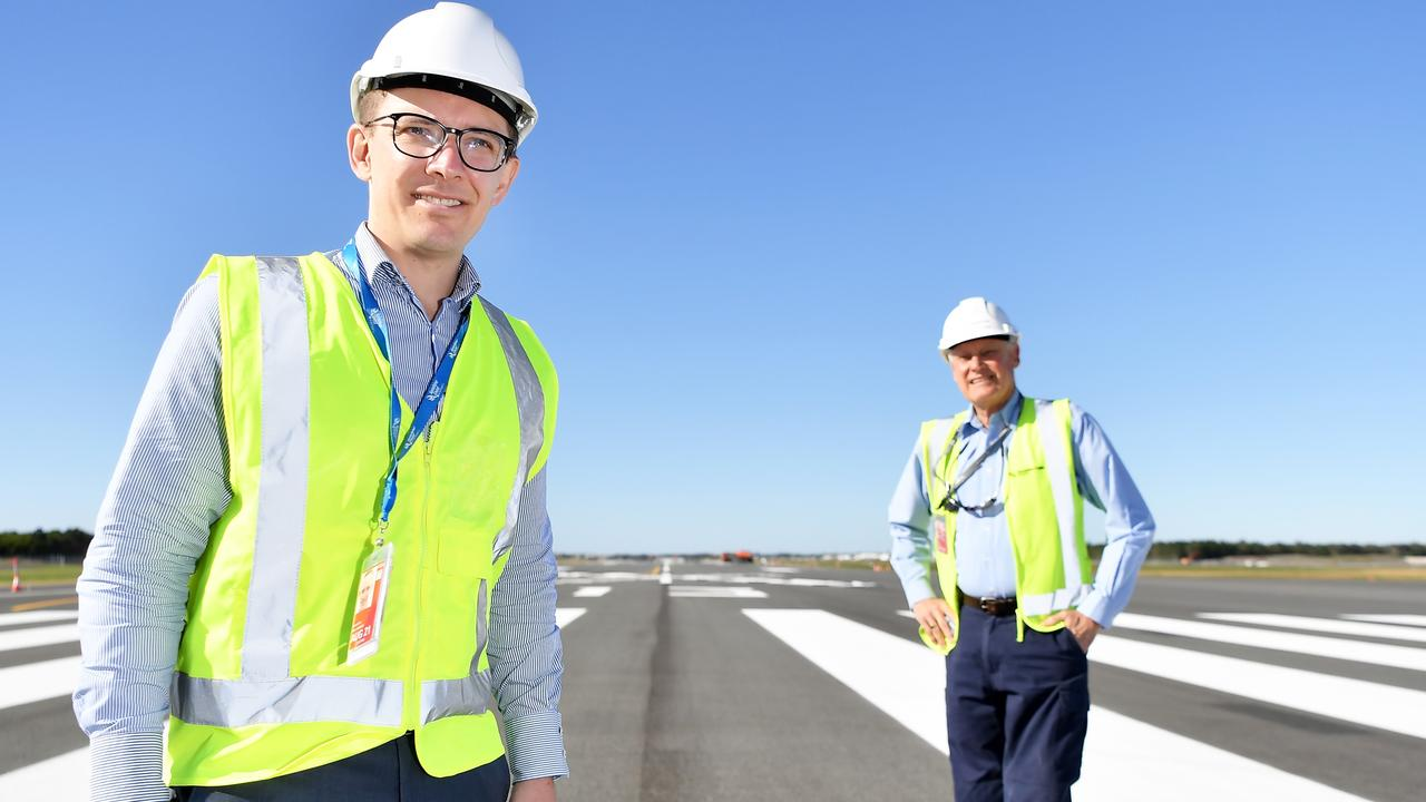 Sunshine Coast Airport new runway tarmac. Pictured, Gareth Williamson general manager aviation business development and Ross Ullman project director Sunshine Coast Airport Expansion. Photo Patrick Woods / Sunshine Coast Daily.