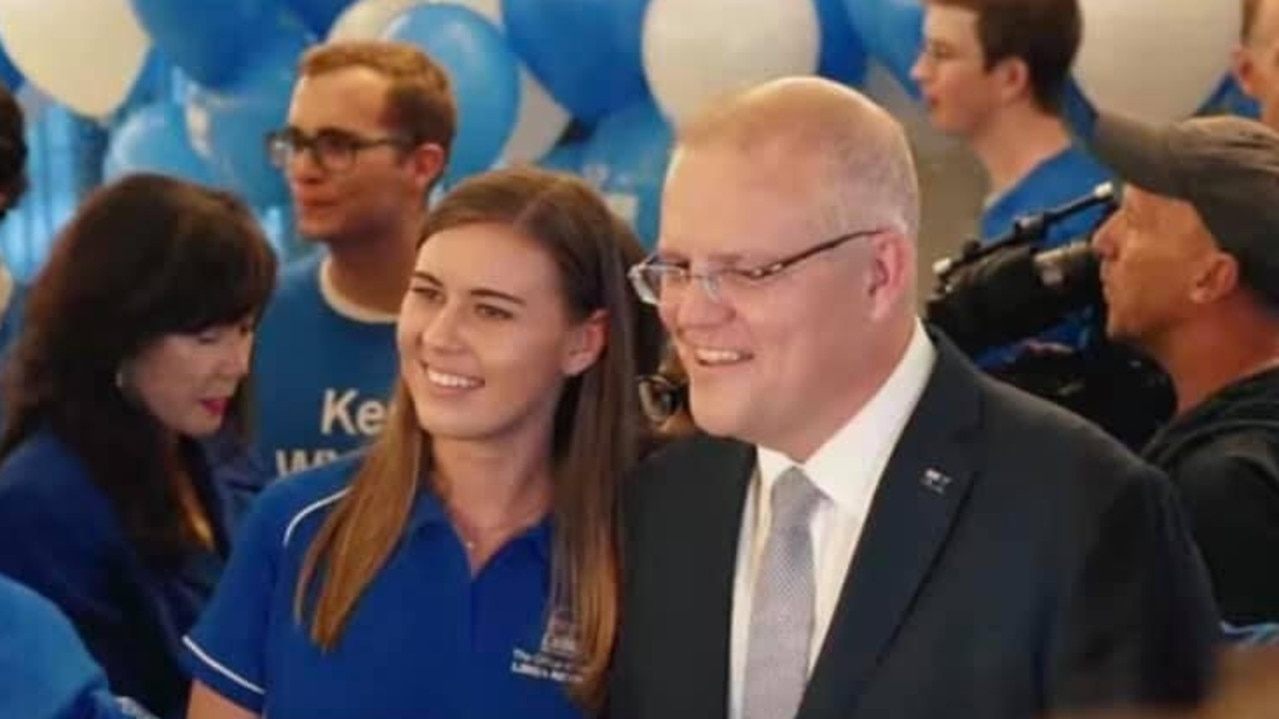 Brittany Higgins with Prime Minister Scott Morrison