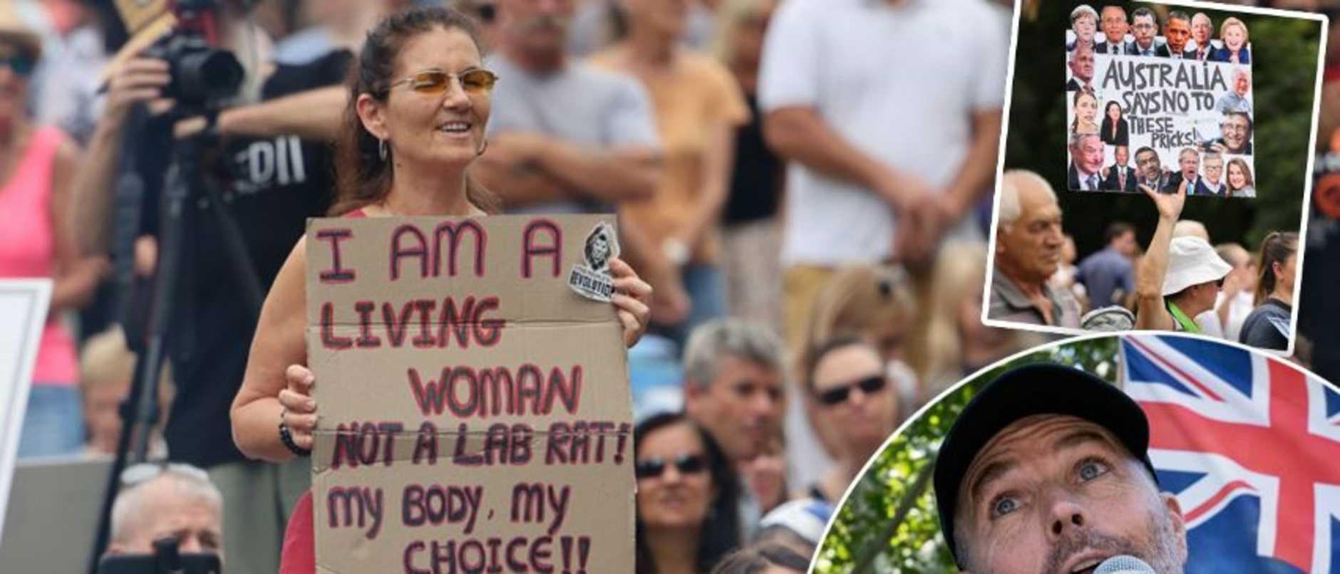 Anti vax protesters in Brisbane CBD