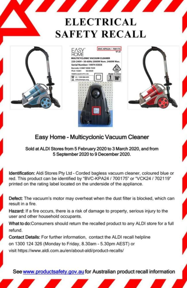 The shopper was unaware that the vacuum cleaner she purchased had been recalled. Picture: ghf/ALDI