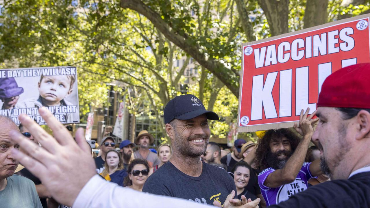 Pete Evans at the Sydney anti-vaccination protest on Saturday. Picture: Jenny Evans