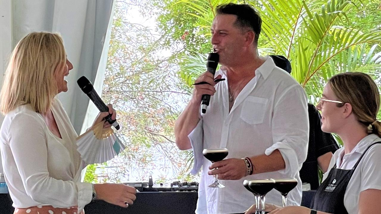 Noosa Mayor Clare Stewart and Karl Stefanovic engage in a bit of stage banter for Youngcare.