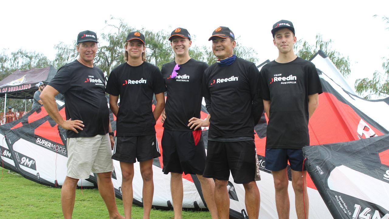 Clayton Stewart, Finn Cross, Harrison Browne, Padi Kotwall and Dylan Brazier of the Surf Connect Reedin Team Australia.