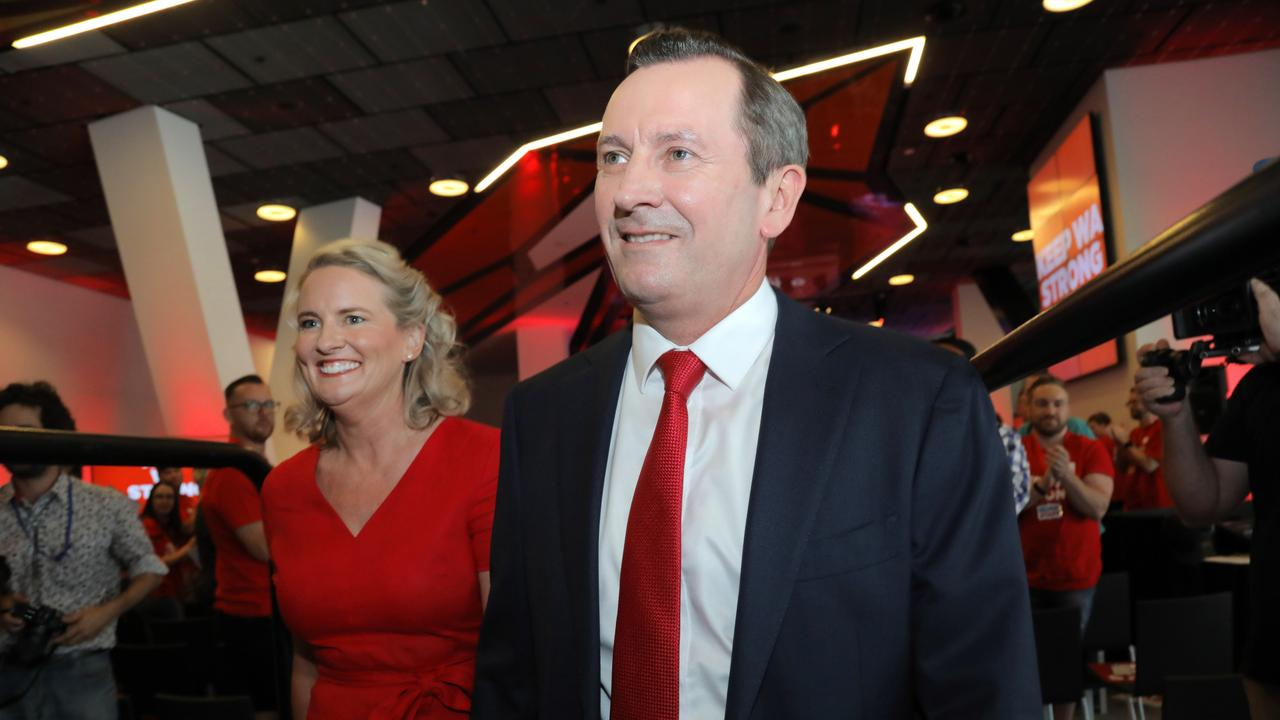 Mark McGowan and wife Sarah at the launch. Picture: NCA NewsWire/Philip Gostelow