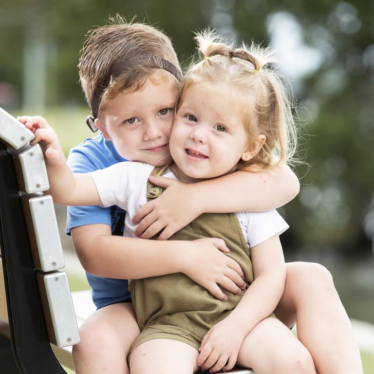 Hudson and his little sister Amayah, 2. Picture: Lachie Millard