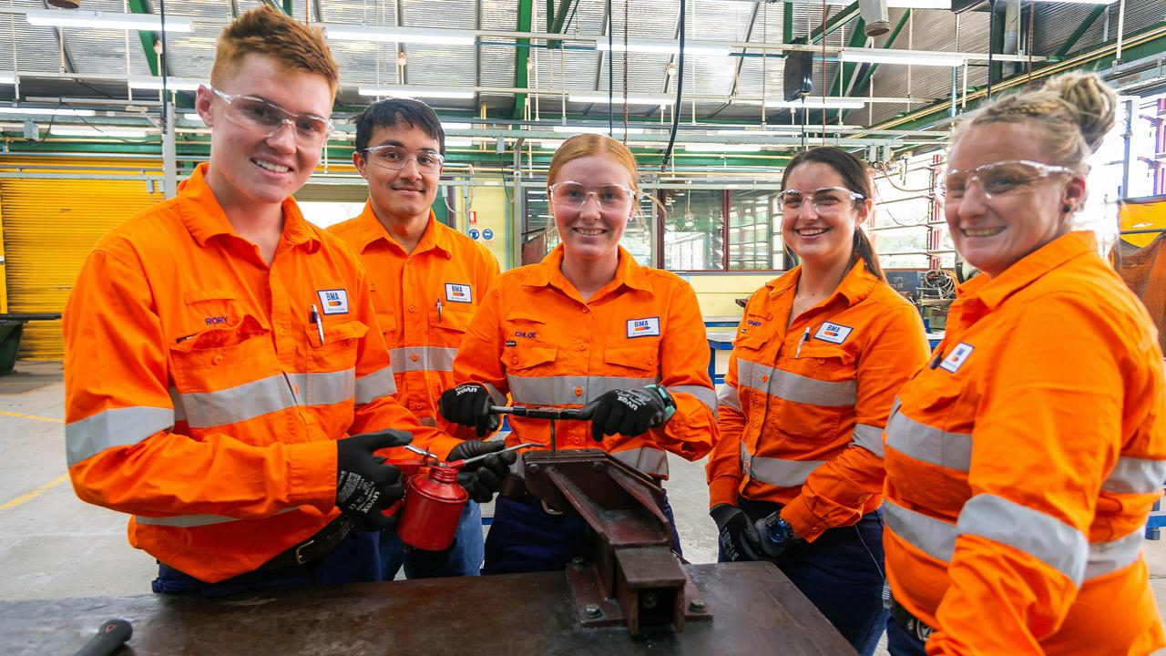BMA apprentices Rory Minty from Mundubbera (Diesel Fitter), Joshua White from Moranbah (Auto Electrician), Chloe Tougher from Yeppoon (Boilermaker), Summer Aprile from Mackay (Plumber) and Zoe Hodkin from Blackwater (Diesel Fitter).