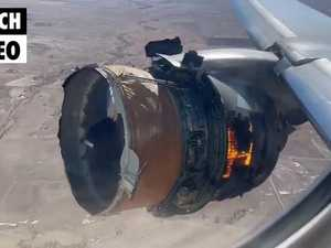 Crazy footage shows moment plane's engine catches on fire