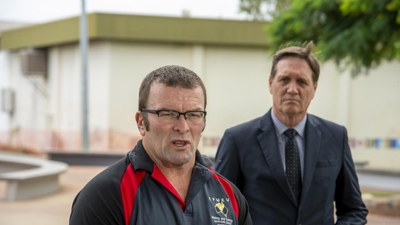 CFMEU district president Stephen Smyth and former Mines Minister Dr Anthony Lynham in Moranbah after the May 6 Grosvenor Mine blast that injured five underground miners. Photo : Daryl Wright