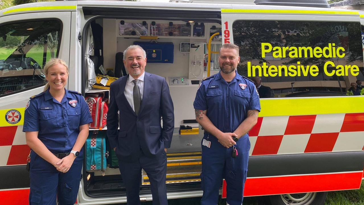 Clarence MP Chris Gulaptis at Parliament House with NSW Ambulance intensive care paramedics Lee Robertson and Eve Baker.