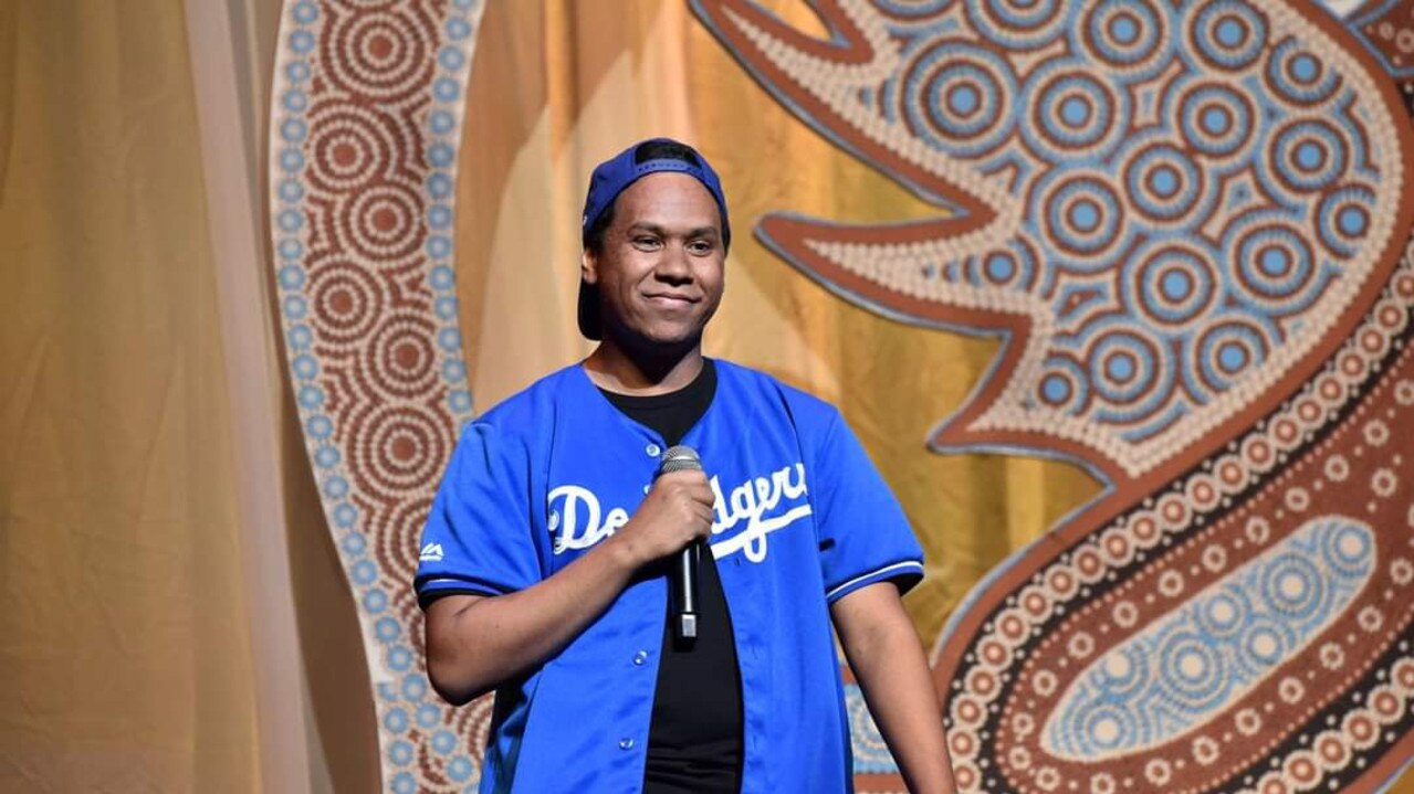 Young indigenous comedian Kylan Ambrum on stage during a show. Photo: Jim Lee