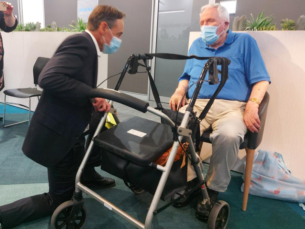 Health Minister Greg Hunt meets John Healy, 86, of Narrabeen, who was the second Australian to receive the COVID-19 jab. Picture: NCA NewsWire