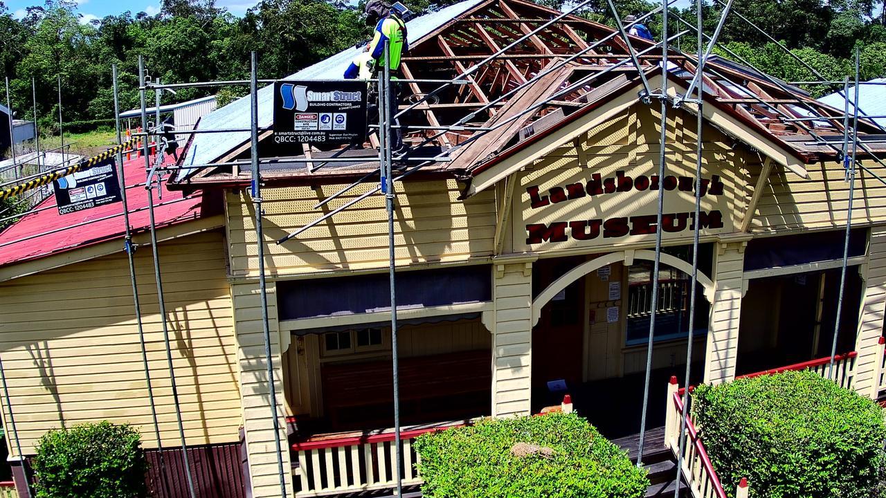 Landsborough Museum roof renovations during construction.
