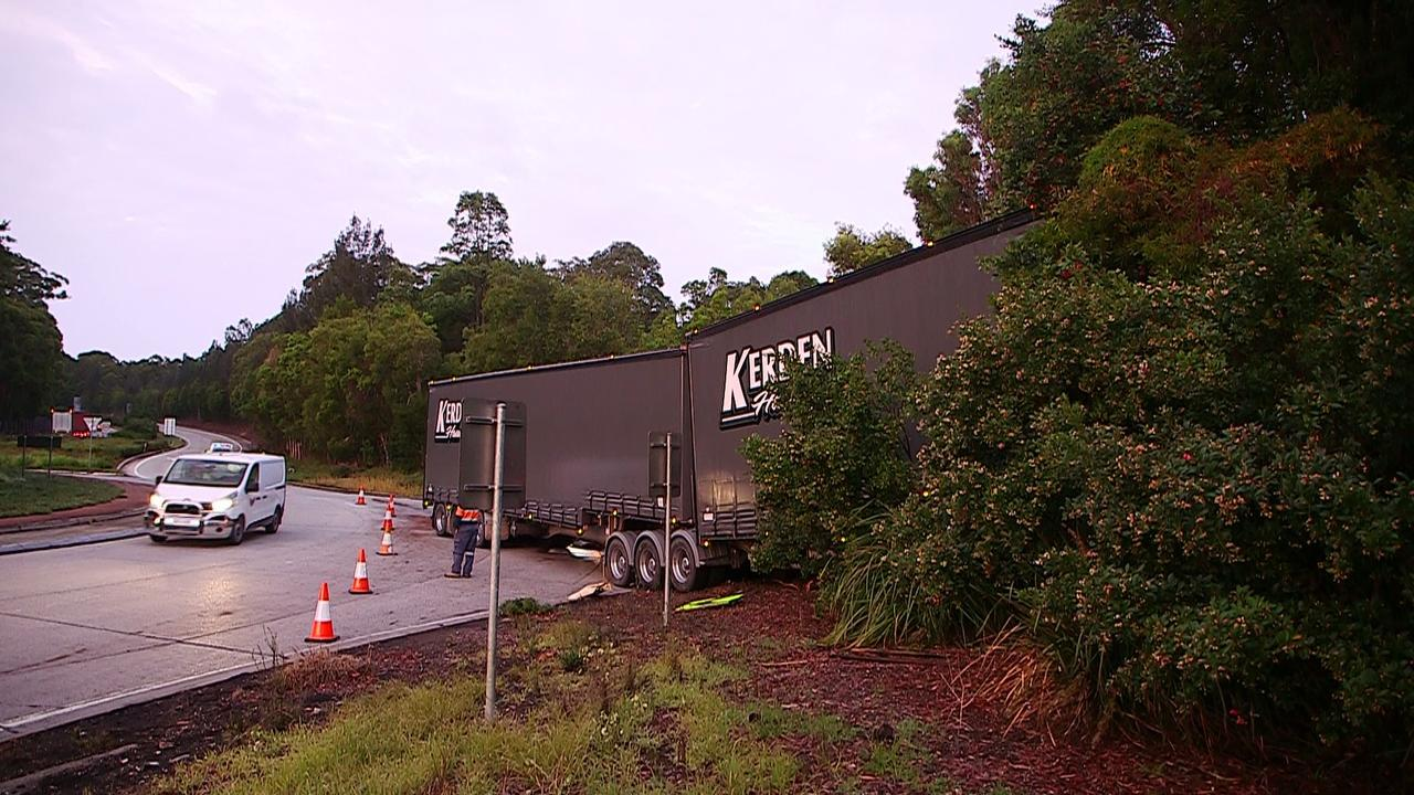 B Double rig crashed at the England's Road Pacific Highway roundabout, south of Coffs in 2016.