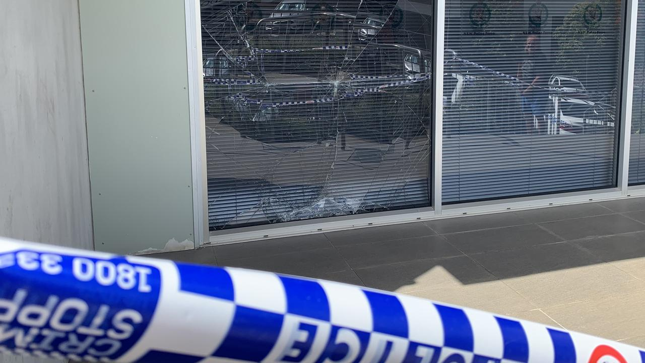 A man has been convicted after he pushed a shopping trolley into a glass panel at Lismore Police Station, smashing the window and then threatening staff, at the weekend. Picture: Liana Boss