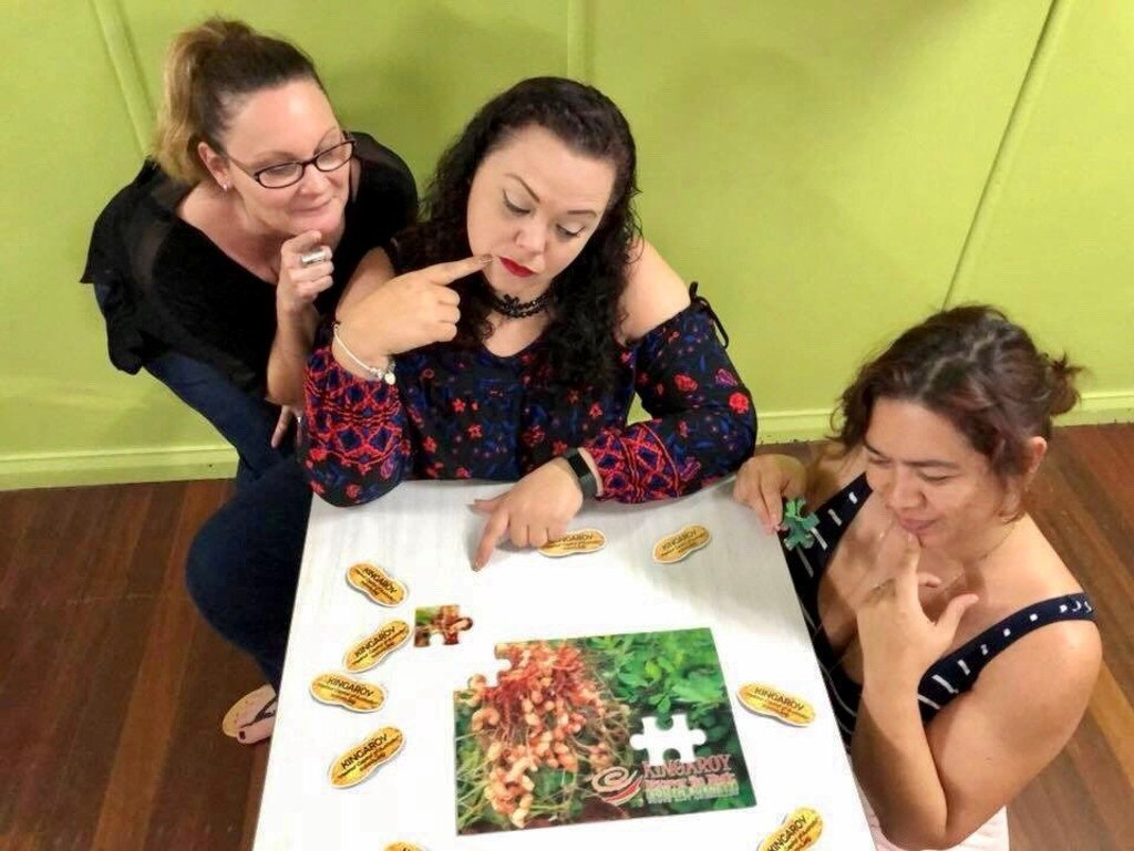 Kingaroy Needs a Big Peanut Committee members; Susan Harvey, Kristy Board and Abigail Andersson were puzzled as to why Kingaroy does not already have a big peanut. File Photo.