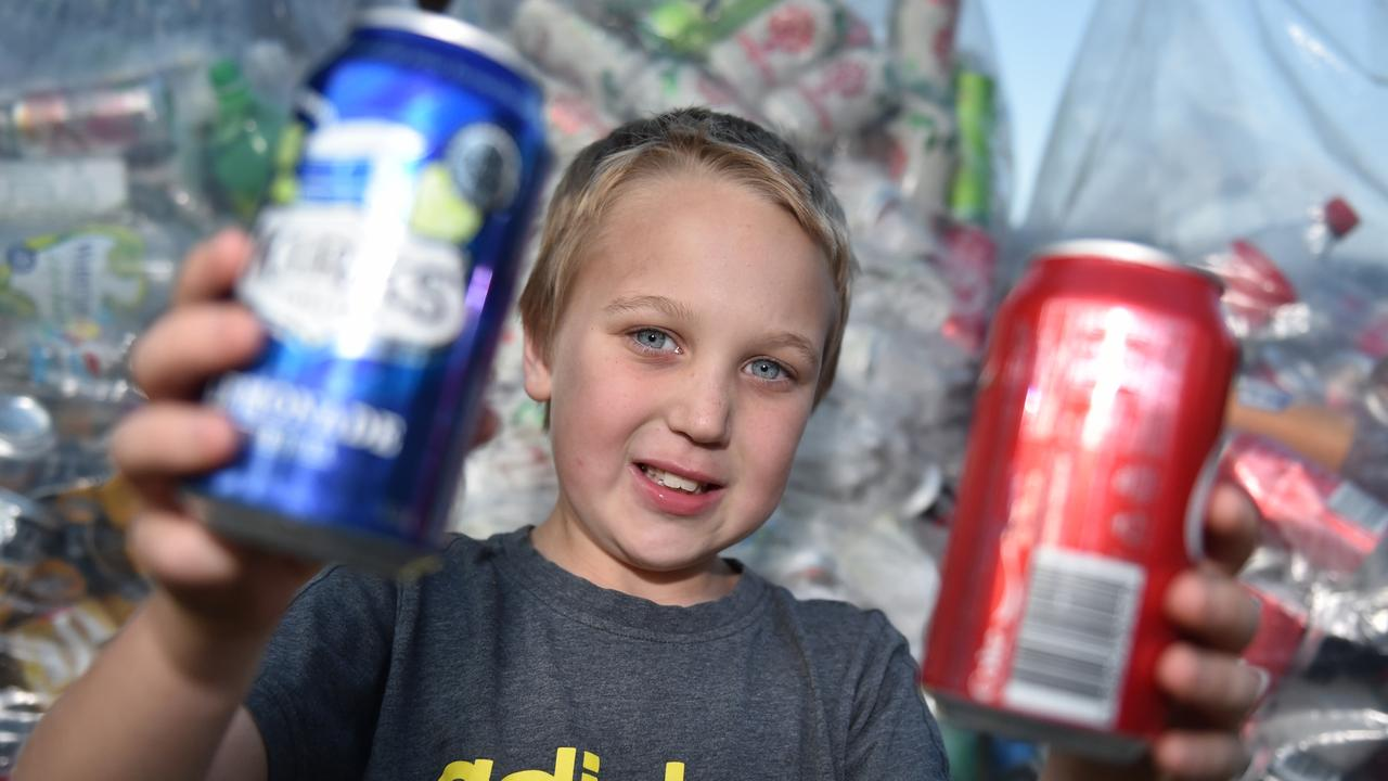 Reegan Pellowe is collecting cans and bottles to raise money for sick children. Photo: Luke Simmonds.
