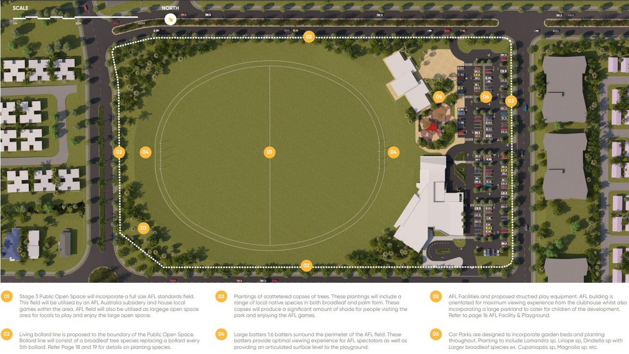 Plans for the Whitsunday Paradise estate include an AFL field and clubhouse. Picture: Supplied