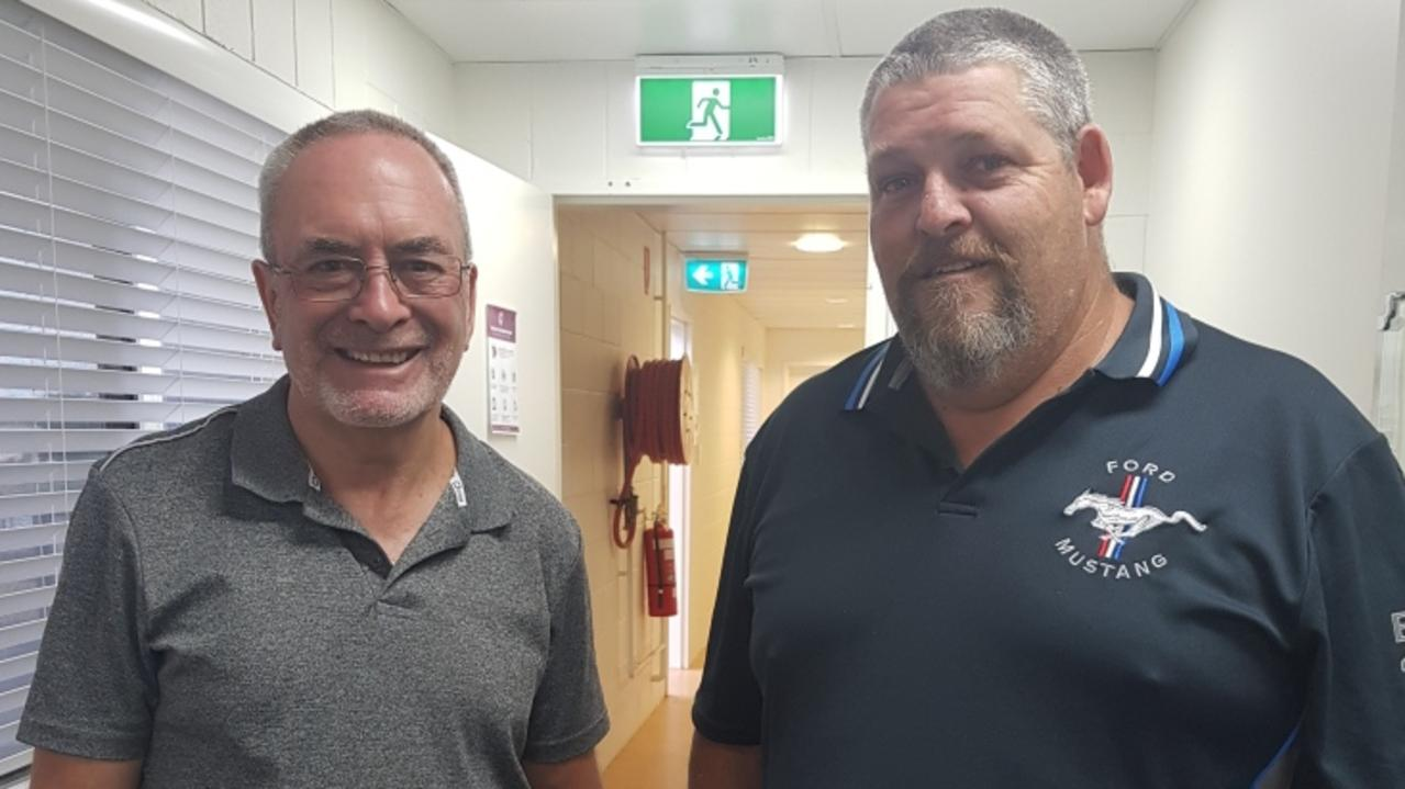 WELCOME ABOARD: Northern Districts Rugby League chairperson Robert Redfern welcomes Warren Bray as NDRL secretary/treasurer.