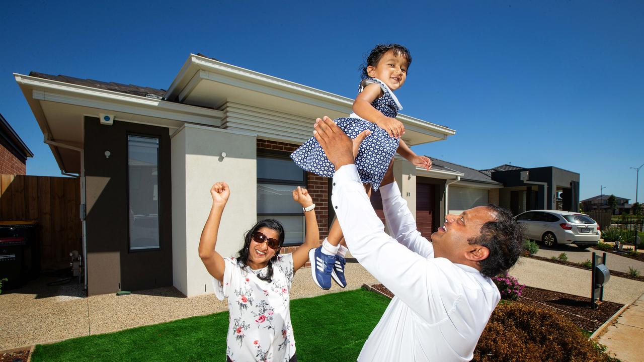 Home vendors have never been happier according to a new survey. Monty, Jyoti Agrawal and their daughter Aayushi pictured outside their Rockbank house. Picture: Mark Stewart