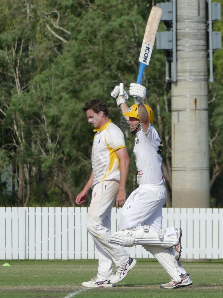 Captain Todd Harmsworth celebrates as Gracemere claim the win over The Glen on Sunday. Photo: Pam McKay