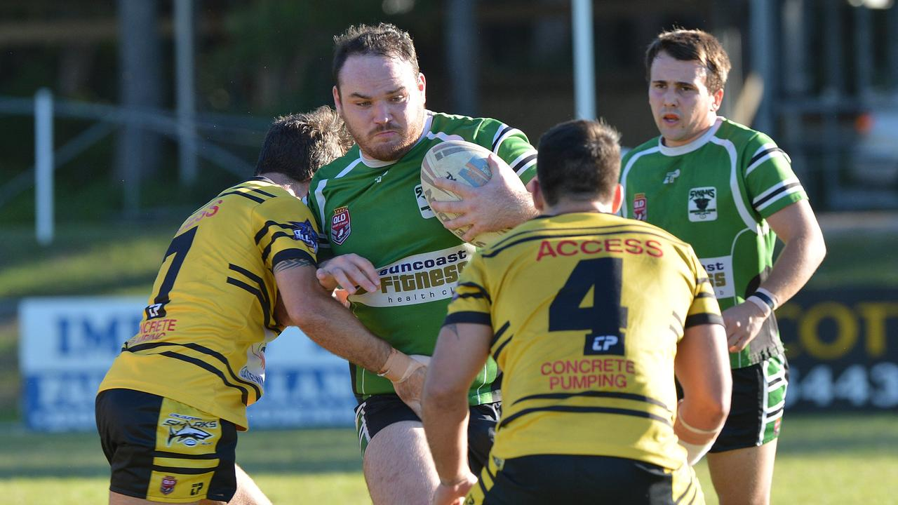 Maroochydore's Dale Best makes a charge against Caloundra. Photo: Warren Lynam / Sunshine Coast Daily