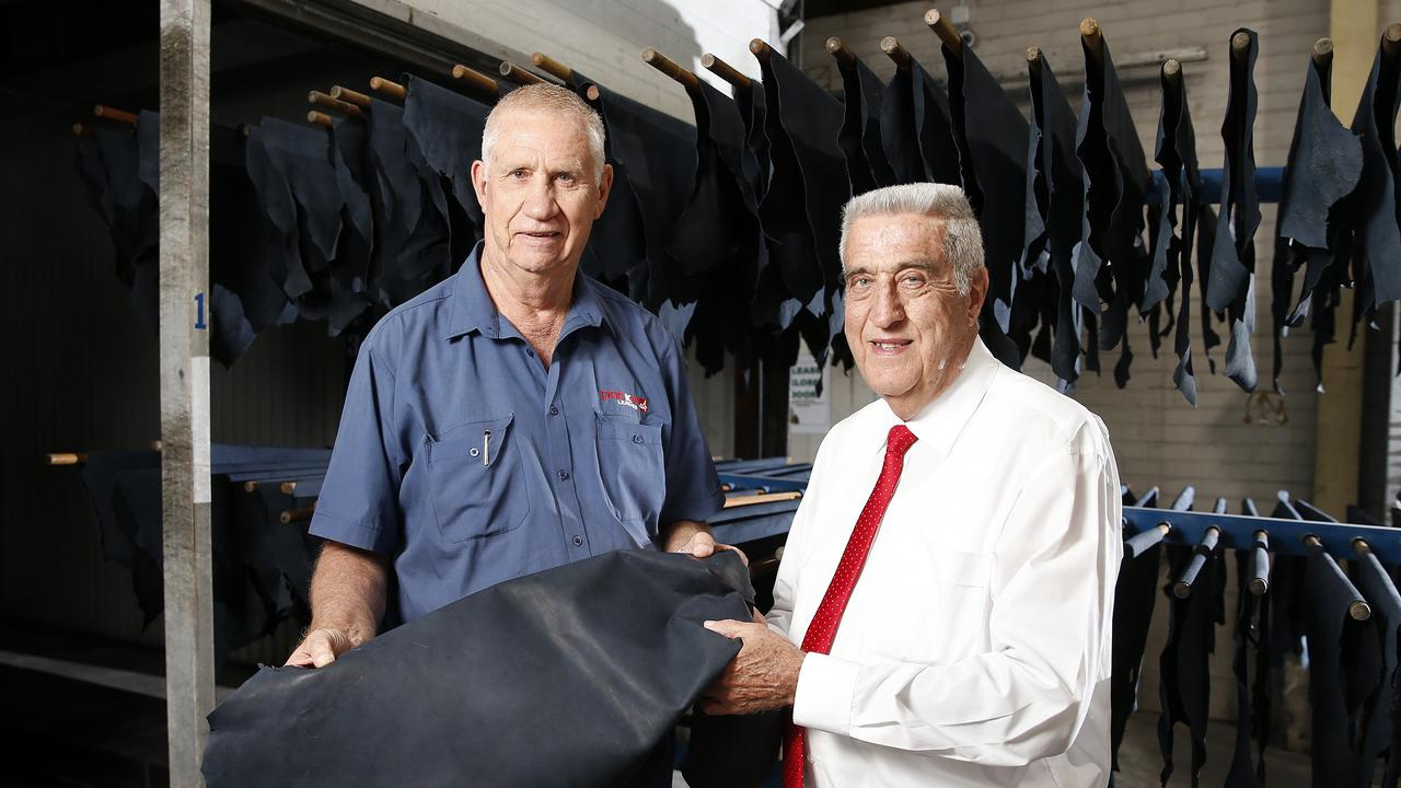 Lindsay and Graham Packer at Packer Leather, Narangba. Photo: AAP/Josh Woning