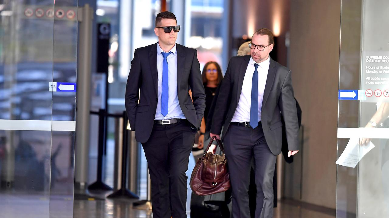 Mr Hockley (left in sunglasses) allegedly sent a 15-year-old girl vile and explicit images over Snapchat for several weeks in 2019. Picture: NewsWire / John Gass