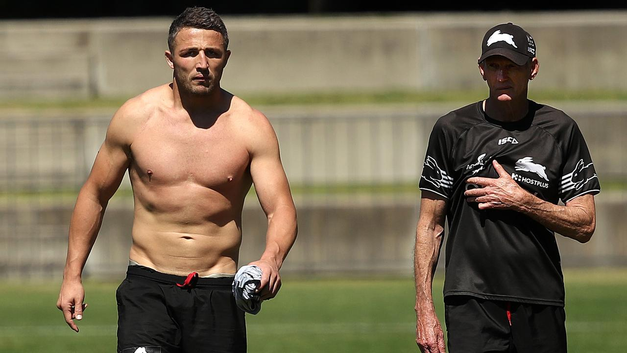 Sam Burgess with former coach Wayne Bennett at Souths Sydney Rabbitohs training. Picture. Phil Hillyard