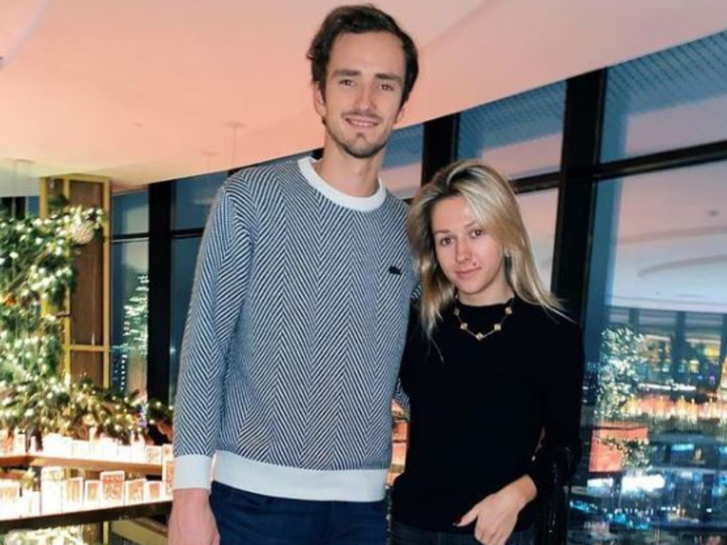 Daniil Medvedev with his wife, Daria.