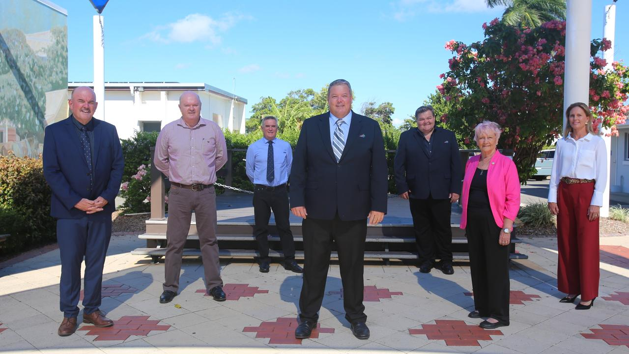 (From left) Whitsunday Regional Council Division 6 councillor Mike Brunker, Division 5 councillor Gary Simpson, Division 2 councillor Al Grundy, Mayor Andrew Willcox, deputy mayor and Division 3 councillor John Collins, Division 1 councillor Jan Clifford and Division 4 councillor Michelle Wright. Picture: Jordan Gilliland