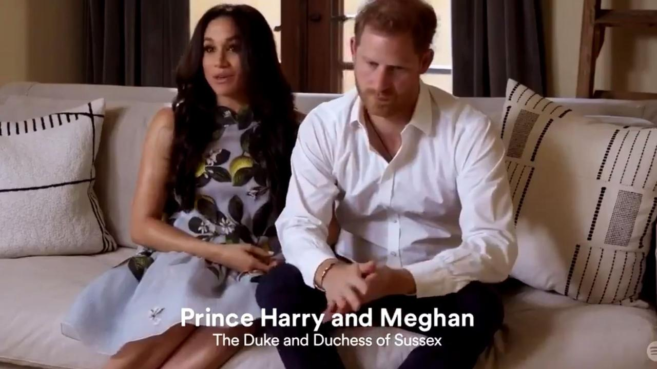 Meghan Markle and Prince Harry made a surprise appearance following their pregnancy news for Spotify's Stream On event. Picture: Spotify