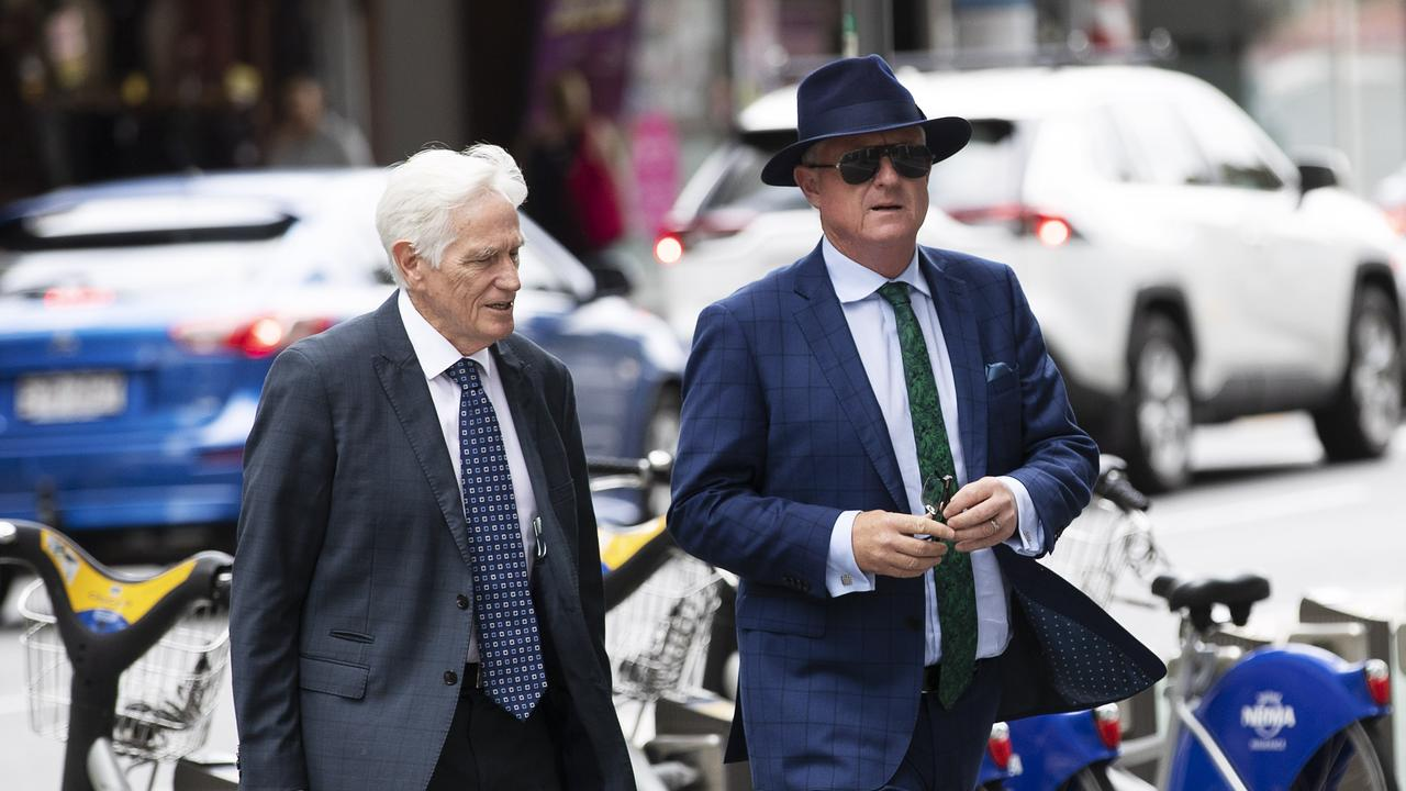 Former rich lister and property developer Craig Gore arrives at the Brisbane Supreme Court with defence lawyer Terry Fisher, of Fisher Dore. Picture: Attila Csaszar.