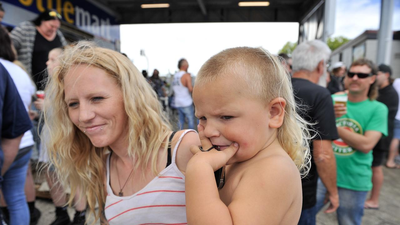 Participants Zoe and Jaxson Smith are seen during Mulletfestat the Chelmsford Hotel, Kurri Kurri. (AAP Image/Perry Duffin)