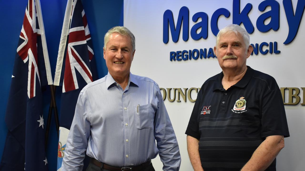 Mackay Mayor Greg Williamson with Mackay RSL sub-branch vice president Col Benson