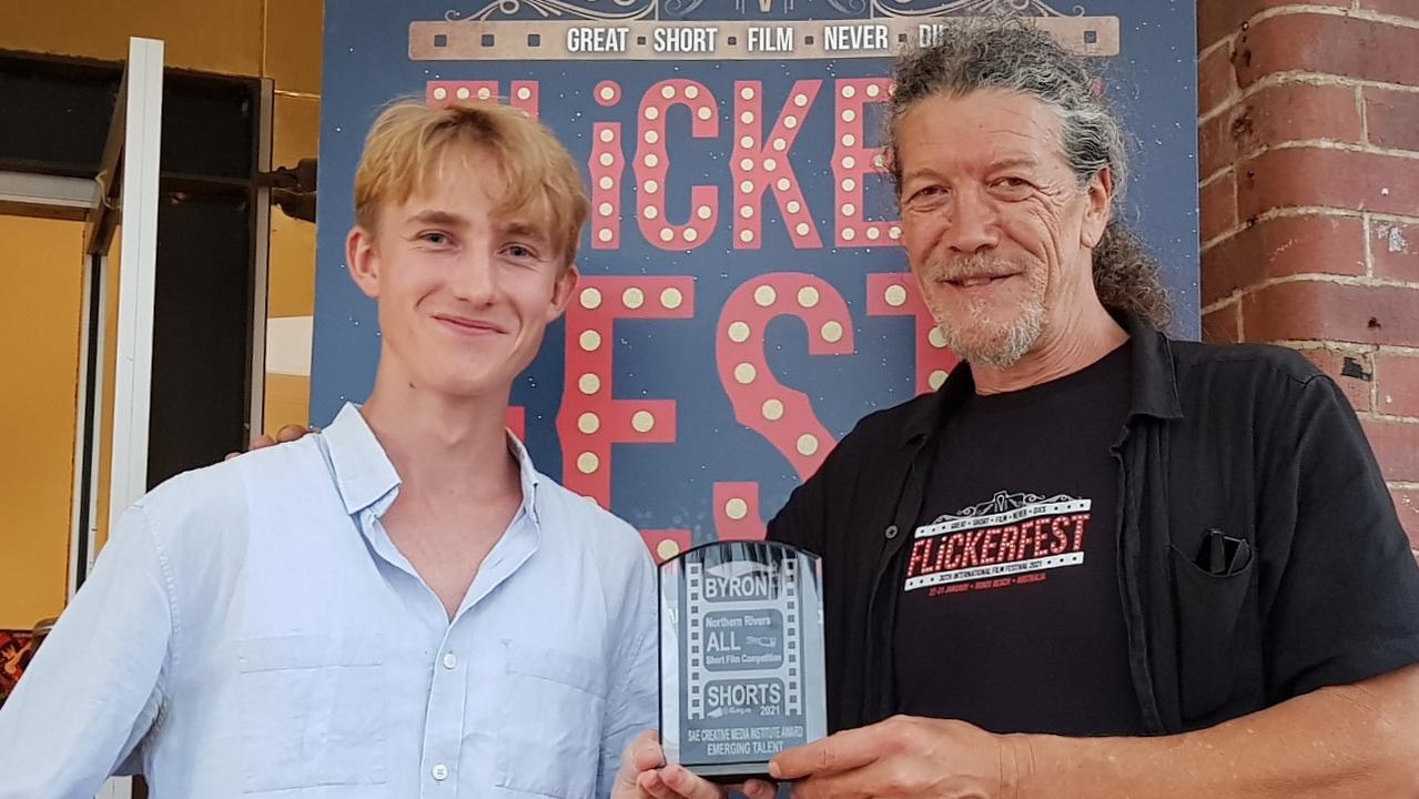 SAE Emerging Talent Award recipient Ethan Lamb-Kelly with Flickerfest organiser Shane Rennie.