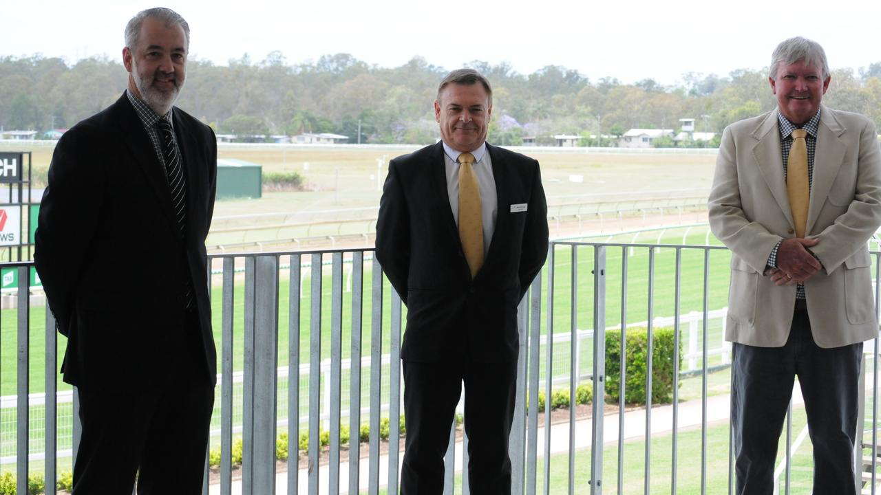 New Ipswich Turf Club general manager Tim Dunn (left), with retiring GM Brett Kitching and turf club chairman Wayne Patch. Picture: Claire Power