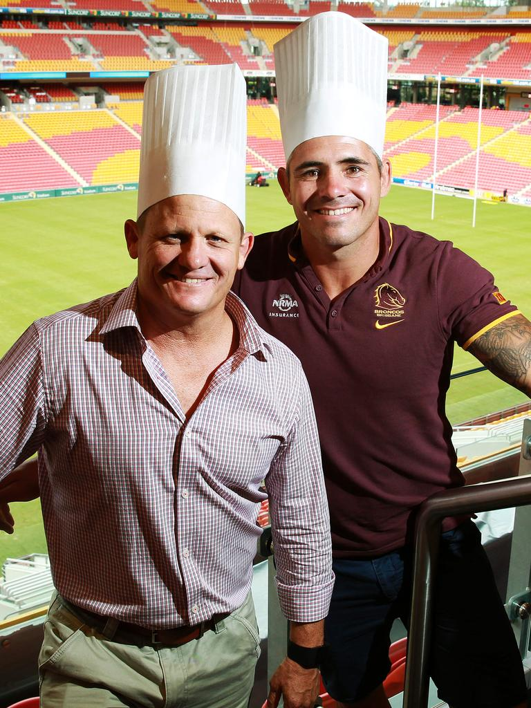 Kevin Walters and Corey Parker at Suncorp Stadium in 2016. Picture: Claudia Baxter