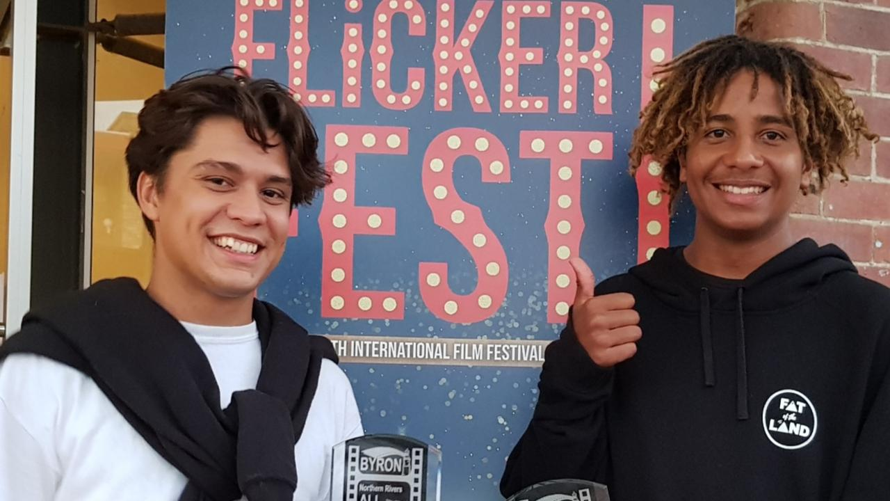 Flickerfest Best Short Film recipients Jahvis Loveday and Elijah Loveday.
