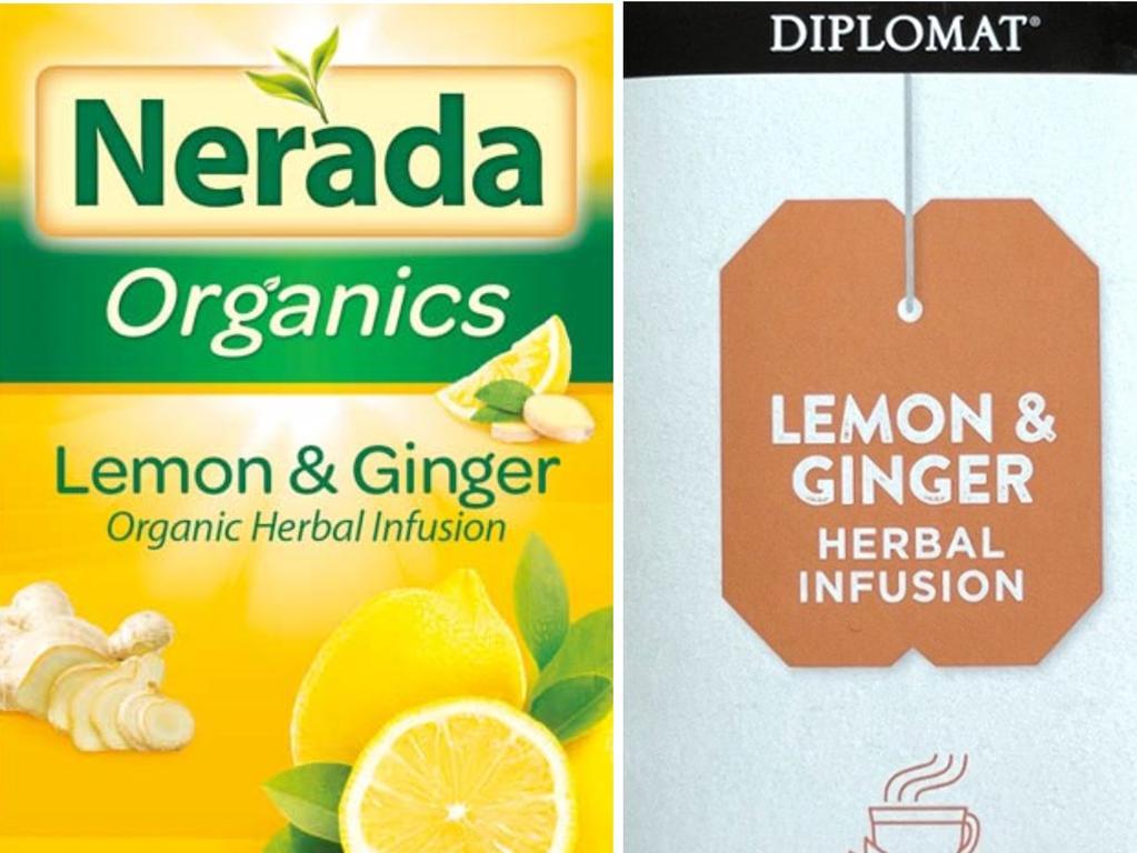 The Nerada Organics tea and Diplomat tea brands being recalled. Picture: Food Standards Australia