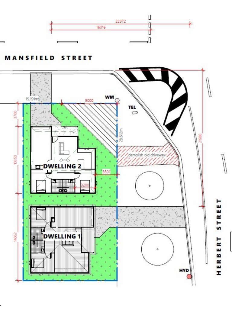 Site plan for the units at 40 Herbert St.