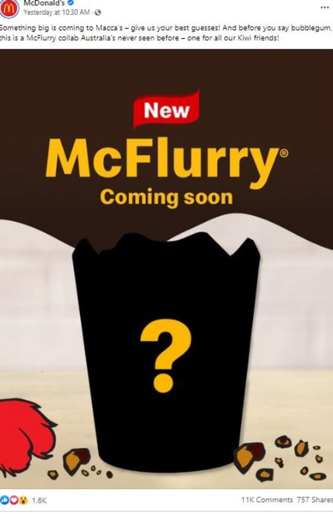 Macca's teased fans on Monday about a new McFlurry flavour. Picture: Facebook/McDonald's
