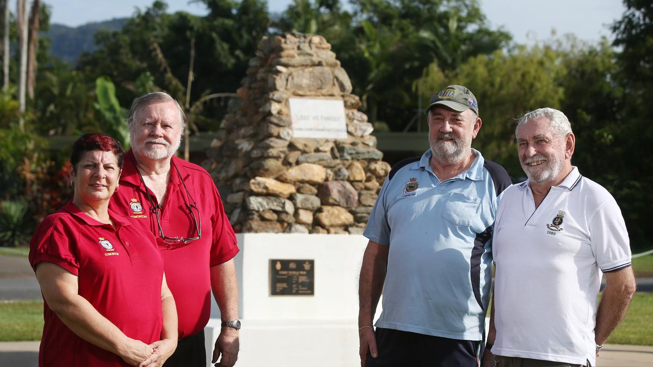 The War memorial at Edmonton was being spruced up ahead of ANZAC Day in 2015. Returned servicemen and women Vicki Hinton, John Vickery, Neville Butterworth and Ian Oakley at the memorial. Picture: Brendan Radke.