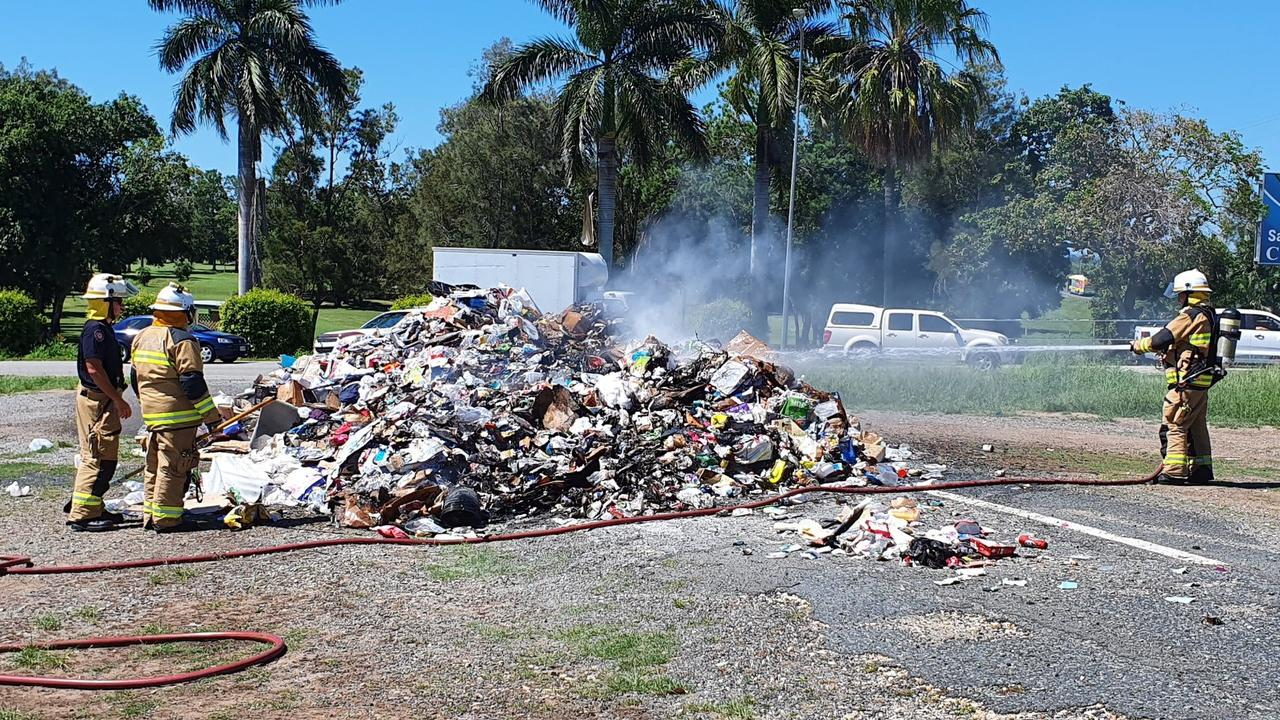 Mackay firefighters had to extinguish a pile of waste on the corner of Mackay Bucasia Rd and Habana Rd, near Kerisdale Estate, after a fire broke out in the back of the truck. Picture: Mackay Regional Council
