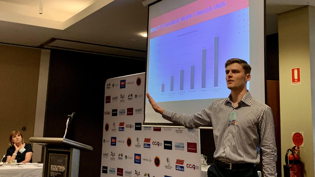 Chamber of Commerce and Industry Queensland economist Jack Baxter presents December quarter data at Mackay Region Chamber of Commerce's Building Business Confidence lunch at Souths Leagues Club. Picture: Rae Wilson