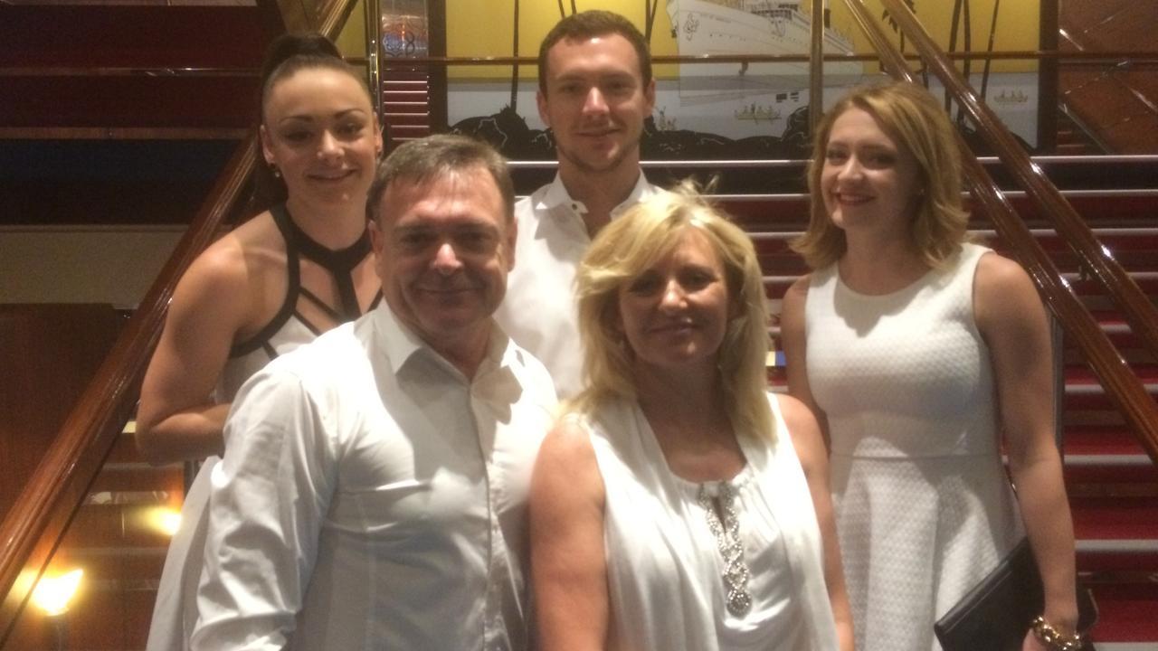 Brett and Annette Kitching on their 2015 family Mediterranean cruise with children Ondreea, Alex and Ellen.