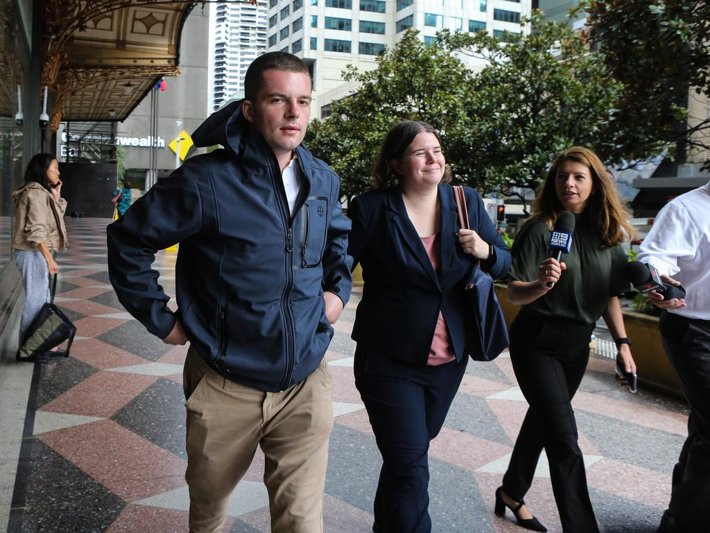 "Lawyer Alicia Catron (centre) said Hugo Ball (left) faced a ""somewhat unique set of circumstances"" following the ""very well publicised incident with his mother that involved him being stabbed"" on November 12. Picture: NCA NewsWire / Gaye Gerard"