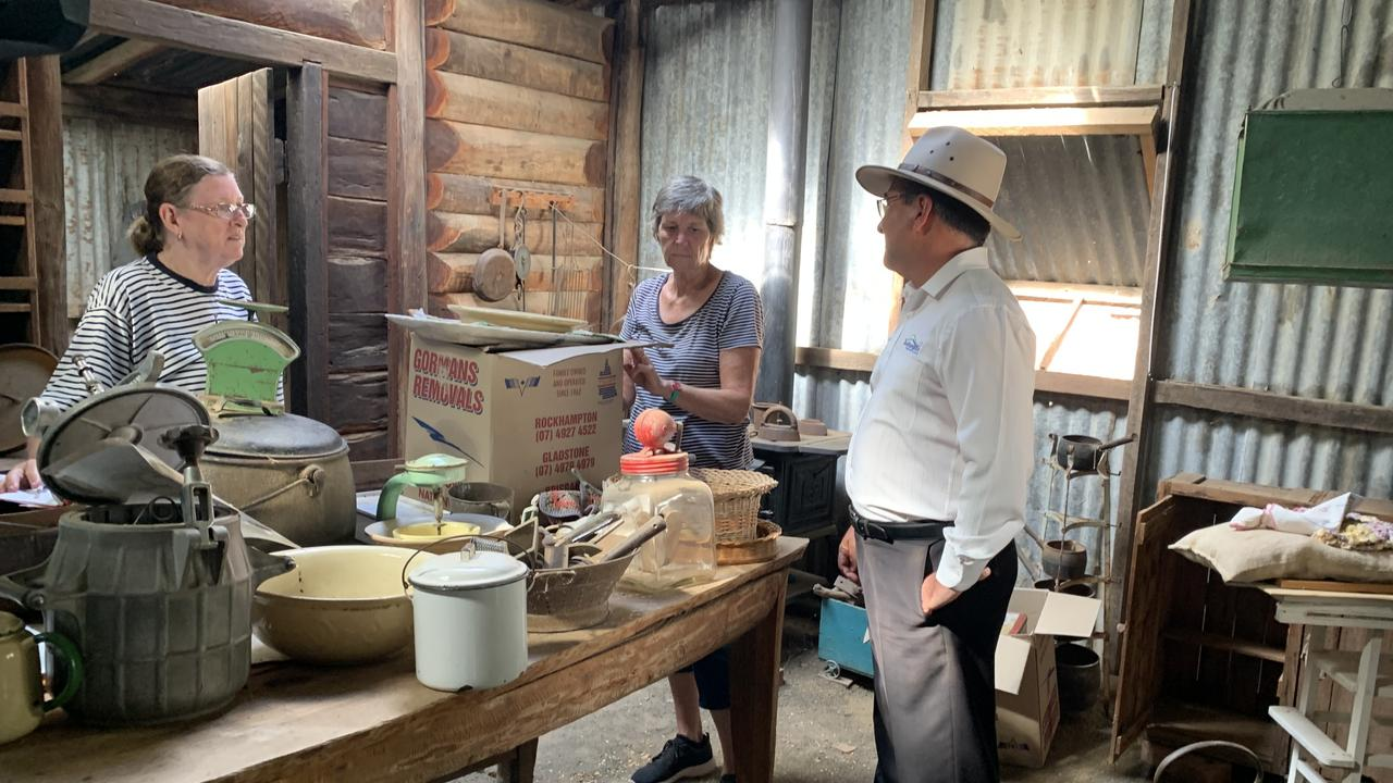 Councillor Drew Wickerson talking to volunteers at the Rockhampton Heritage Village.
